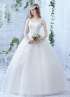 Avorio Wedding Dress Lace perla strass Lace-up piano nuziale abito da