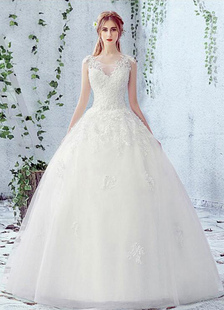 Image of Pizzo da sposa abito girocollo senza maniche in raso netto pizzo Up Abito da sposa con perline