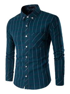 Cotone camicia manica lunga collo Turndown contrasto camicia a quadri verde maschile tasche Camicia Slim Fit