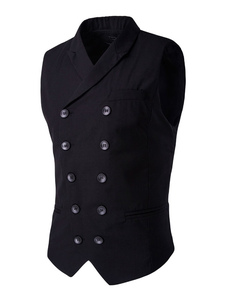 black-suit-vest-double-breasted-turndown-collar-cotton-slim-fit-vest-for-men