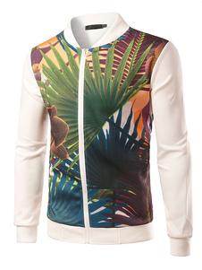 Image of Maglia giacca Palm Leaf stampa uomo Slim Fit Stand collare cerniera della giacca uomo cappotto Outwear