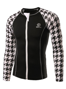 men-cycling-jersey-long-sleeve-houndstooth-slim-fit-cycling-top