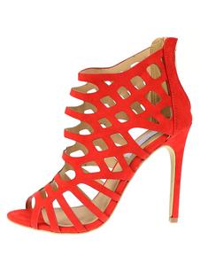 Alto talón Gladiador sandalias rojo corta cremallera Gladiator sandalias botines para mujeres