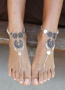 Accesorio de zapatos estilo tribal plateado