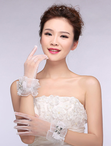 Image of Tulle da sposa guanti pizzo strass archi avorio dita guanti da sposa