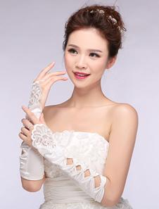 Image of Avorio nozze guanti pizzo tagliato ad archi senza dita guanti da sposa in raso