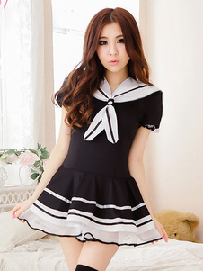 Image of Abito nero Carnevale School Girl Costume Nerd uniforme donne Sexy con perizoma Carnevale
