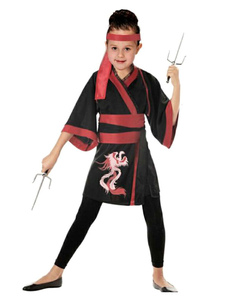 girl-ninja-costume-halloween-red-black-dragon-printed-dress-with-headband-sash