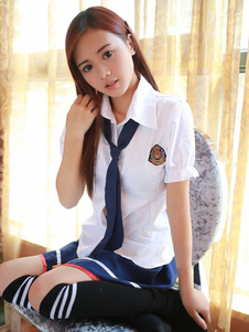 Image of Carnevale Sexy School Girl costumi Nerd camicia maniche a sbuffo breve con minigonna Carnevale