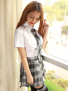 Image of Carnevale Sexy School Girl costumi Nerd camicia a maniche corte bianca con Mini gonna scozzese Carnevale