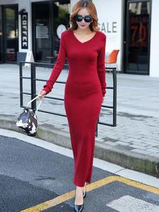 Image of Manica lunga con scollo a v fessura maxi maglia vestito donna Slim Fit Abito lungo in maglia