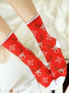 Image of Magenta Natale calze Jacquard calzini della squadra delle donne