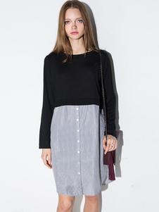 Image of Maglione vestito due tono Patchwork donna camicia abito a righe
