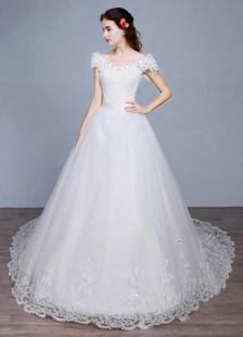 Image of Abito da sposa principessa fuori lo spalla Backless pizzo paillettes un linea pizzo abito da sposa