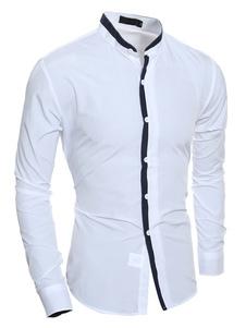 Image of Bianco camicia Casual camicia di cotone uomo manica lunga Stand