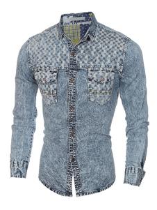Denim camicia luce blu manica lunga camicia di cotone uomo Casual