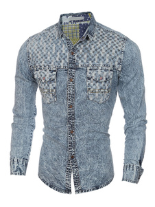 Image of Denim camicia luce blu manica lunga camicia di cotone uomo Casual