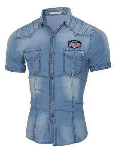 Denim camicia luce blu a manica corta camicia di cotone uomo Casual