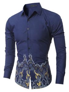 Navy camicia manica lunga collo Turndown Camicia Slim Fit uomo con floreale