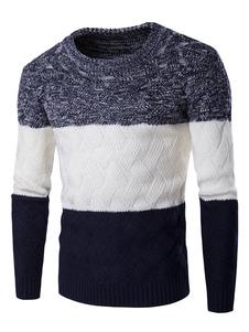 Uomo in maglia maglione colore blocco maglione Slim Fit Pullover girocollo