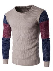 Image of Uomo in maglia maglione colore blocco maglione Slim Fit Pullover girocollo