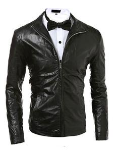 Image of Giacca uomo giacca nera manica lunga PU zip frontale corto