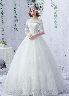 -Vestido de boda vestido Ivory de encaje media manga piso novia vestido