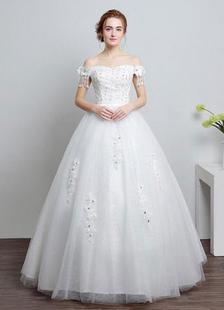 Image of Abito da sposa avorio fuori la spalla pizzo abito di sfera in ri