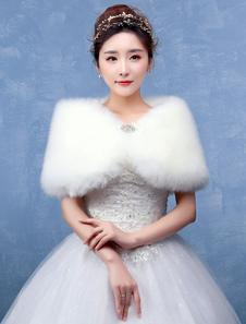 Image of Avorio Wedding Wrap pelliccia scialle da sposa con bottoni di diamante