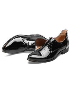 Image of Piatto scarpe stringate in pelle punta a mandorla Oxford vestito nero scarpe uomo