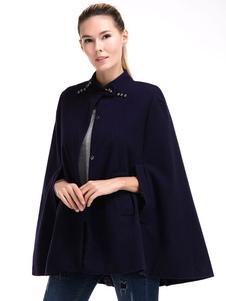 Image of Donne cappotto di lana Poncho di pieghe cappotto del capo Casual