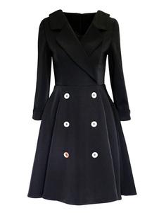 Image of Lungo abito A linea Vintage donna manica pieghe Flare abito abito a doppio petto