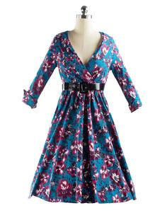 Abito Vintage stampa floreale Multicolor V collo donna sottile Fit Abito plissettato abito da Skater