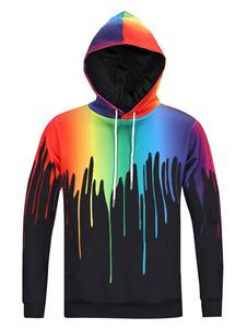Herren bedruckte Hoodie Long Sleeve 3D Drucken Ombre Sweatshirt mit Kapuze