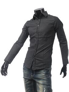 Camicia nera manica lunga Polka Dot Camicia sfiancata in cotone uomo