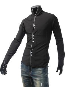 Image of Camicia nera Stand collare maniche lunghe pulsanti anteriore Camicia Slim Fit Casual uomo