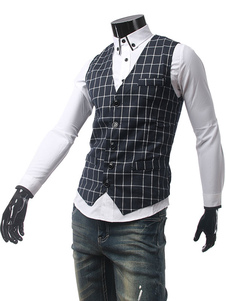Image of Scollo a v Single Breasted plaid abito gilet uomo Wasitcoat giacca Fit