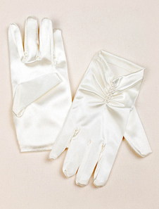 Image of Guanti raso avorio plissé perle perline dita partiti guanti da s