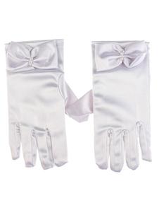 Image of Raso nozze guanti guanti dita completo per la sposa con fiocco