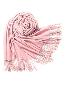Image of Rosa tinta unita frange sciarpa morbida di donne sciarpa di lana