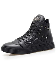 Image of STRINGATE nero scarpe Casual maschile Spike impreziosito scarpe piatte