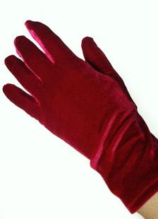 Image of Sposa rosso guanti flanella mano polso lunghezza sera guanti per