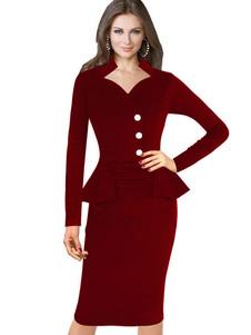 Bodycon Vintage robes Peplum rouge volant gaine rétro robe manches longues femmes