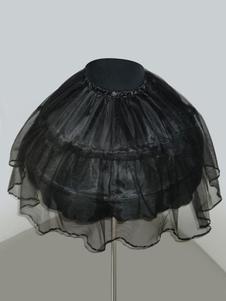 Image of Dolce Lolita sottoveste nera ossa d'acciaio volant corto Lolita sottogonna