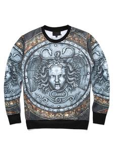 Herren Baumwoll Sweatshirt 3D Christmas Print Langarm Jewel Ausschnitt Pullover Top
