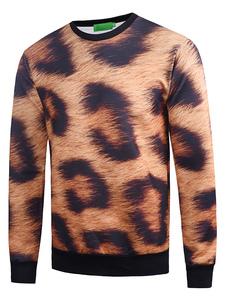 Herren Baumwoll Sweatshirt 3D Leopard Print Baumwolle Langarm Pullover Top