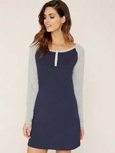 women-shirt-dress-dark-navy-contrast-raglan-long-sleeve-back-printed-henley-cotton-dress