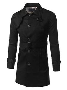 Image of Cintura cappotto nero manica lunga collo Turndown uomo pulsante cappotto di inverno