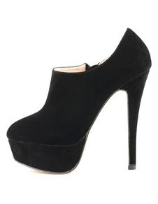Image of Caviglia sexy stivali tacco alto piattaforma nero pelle scamosci