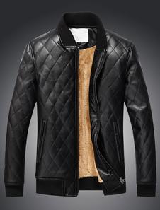 Image of Giacca di pelle trapuntata nera foderata di cappotto di pelle con cerniera per gli uomini